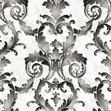 La Vetrina 2106-3 Beyaz Üzeri Siyah Damask Desenli Duvar Kağıdı