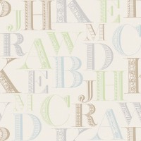 Design Plus 13111-1 Harfler  Desenli Duvar Kağıdı