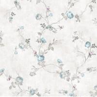 Design Plus 13131-2 Mavi Çiçekli Desen Duvar Kağıdı
