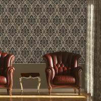 Design Plus 13191-3 Koyu Renk Damask Desenli Duvar Kağıdı