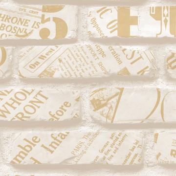 Freedom 14236-1 Üç Boyutlu Tuğla Desen Üzeri Yazılı Duvar Kağıdı