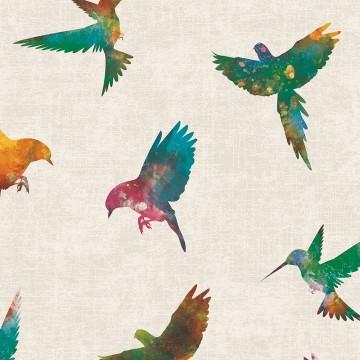 Freedom 14253-1 Kuş Desenli Duvar Kağıdı Renkli