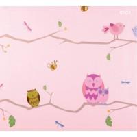 Kids Dream 6101 Pembe Baykuş Desenli Duvar Kağıdı
