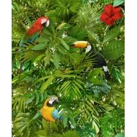 Foux Semblant L123-04 3D Papağan Yaprak Desenli Duvar Kağıdı
