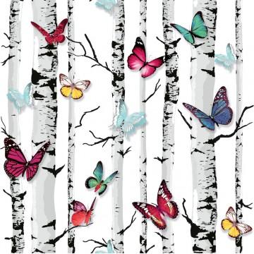 Jet Setter 102529 Ağaç Kelebekli Pop Art Duvar Kağıdı